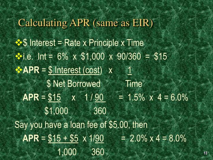 Calculating APR (same as EIR)