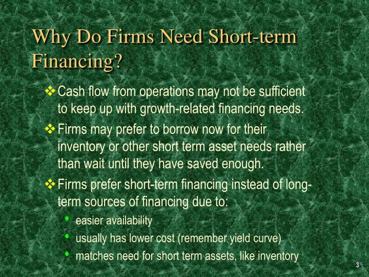 Why Do Firms Need Short-term Financing?