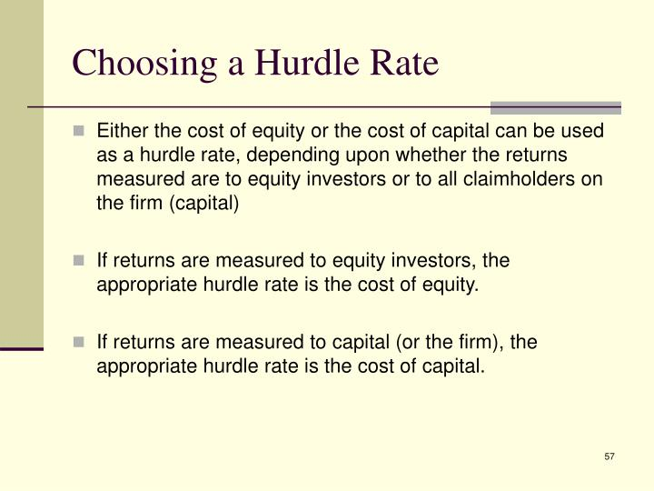 Choosing a Hurdle Rate