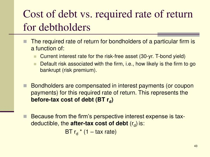 Cost of debt vs. required rate of return for debtholders