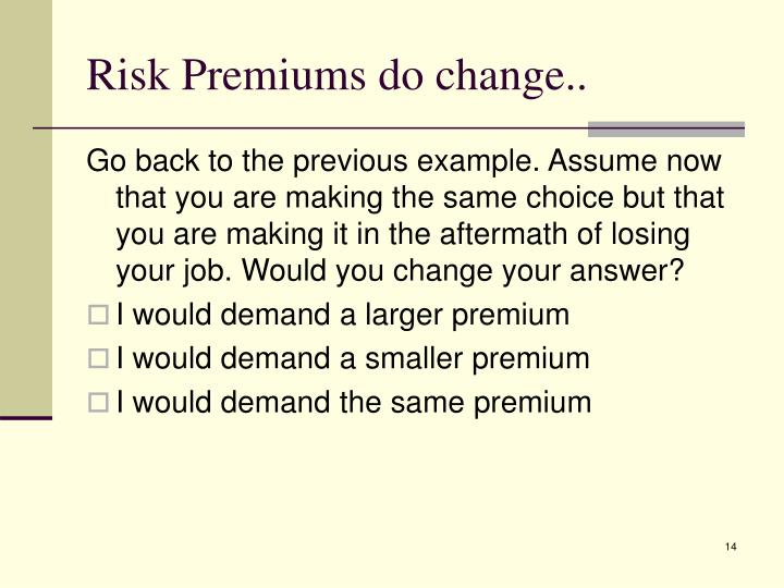 Risk Premiums do change..