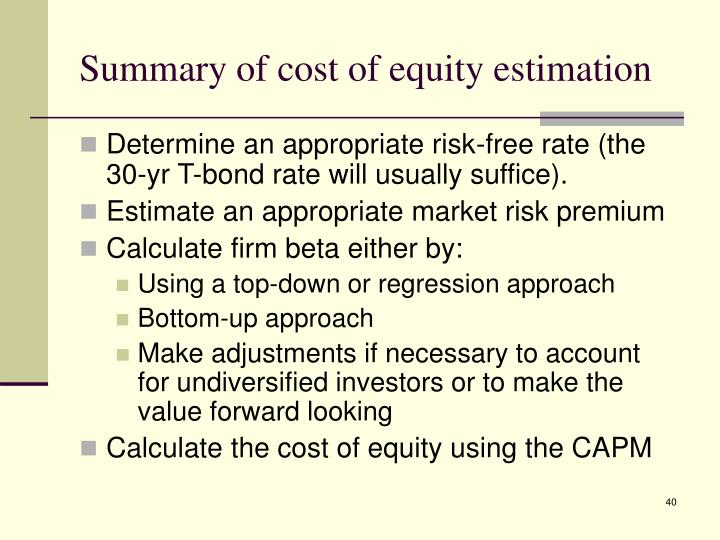 Summary of cost of equity estimation