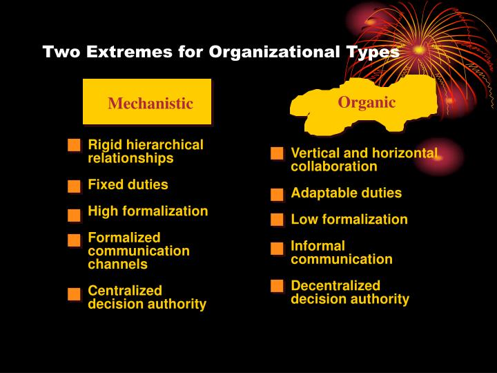 Two Extremes for Organizational Types
