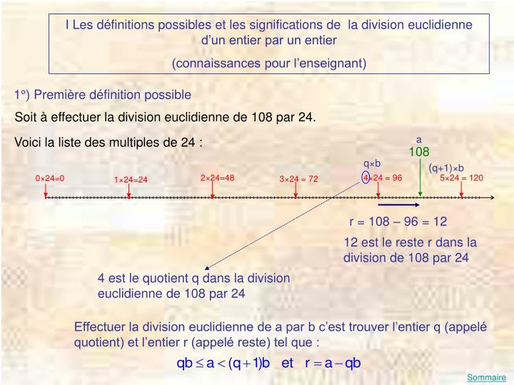 I Les définitions possibles et les significations de  la division euclidienne d'un entier par un entier