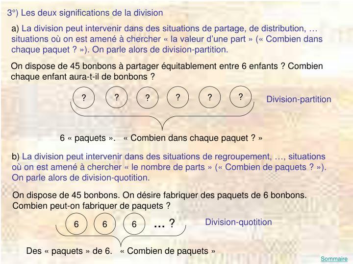 3°) Les deux significations de la division