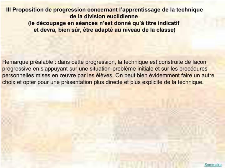 III Proposition de progression concernant l'apprentissage de la technique