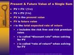present future value of a single sum