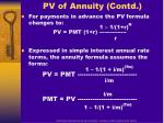 pv of annuity contd