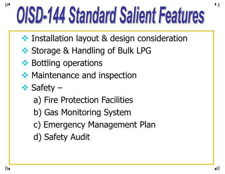 OISD-144 Standard Salient Features
