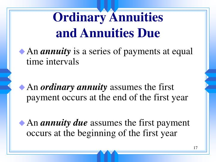 Ordinary Annuities