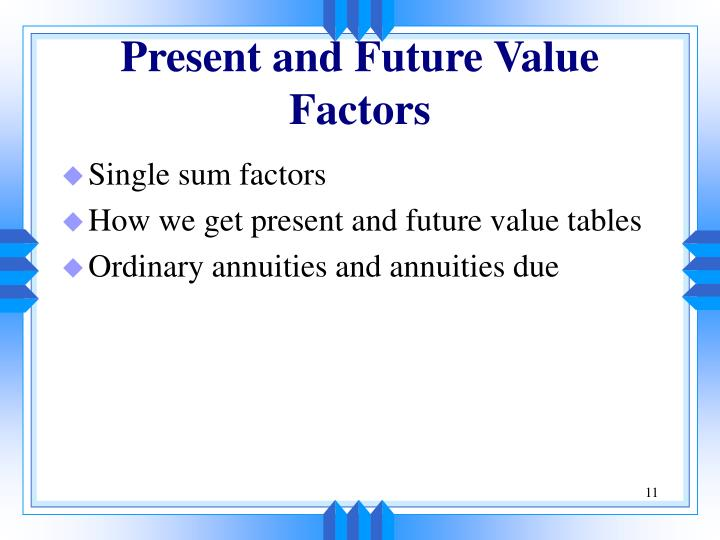 Present and Future Value Factors