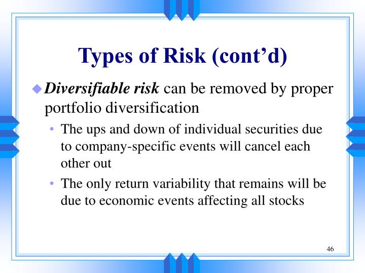 Types of Risk (cont'd)
