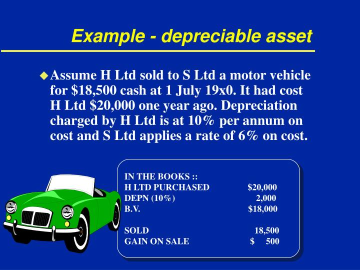 Example - depreciable asset