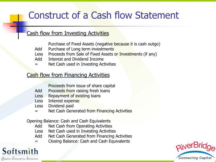 Construct of a Cash flow Statement