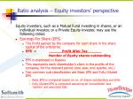ratio analysis equity investors perspective