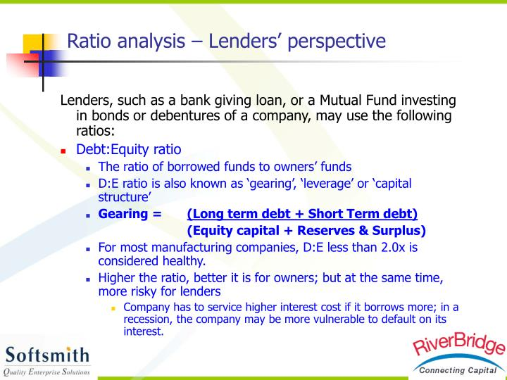Ratio analysis – Lenders' perspective