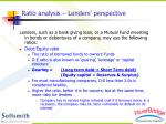 ratio analysis lenders perspective
