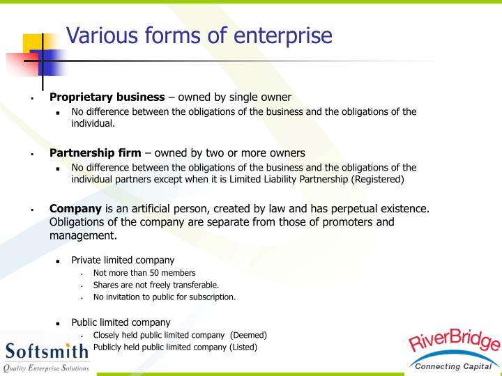 Various forms of enterprise