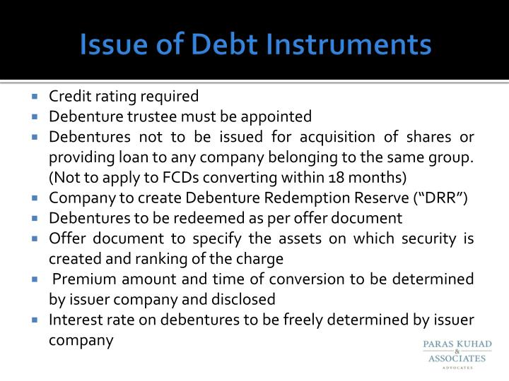 Issue of Debt Instruments