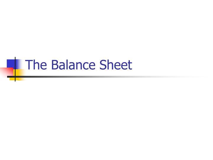 The Balance Sheet