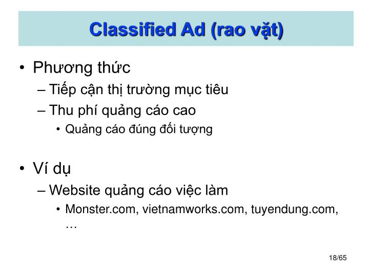 Classified Ad (rao vặt)