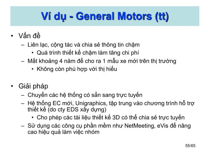 Ví dụ - General Motors (tt)