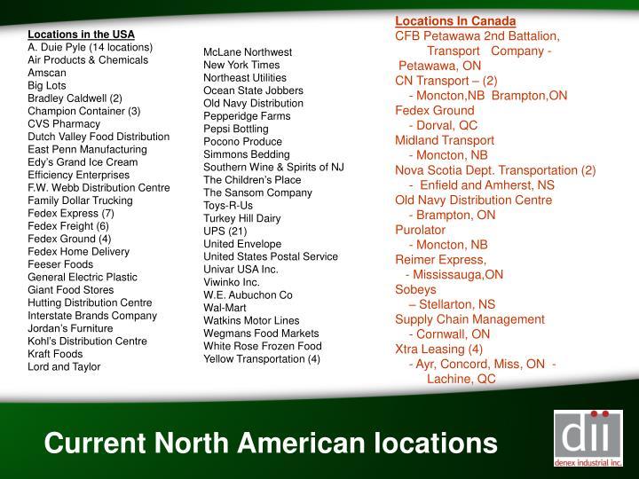 Locations In Canada