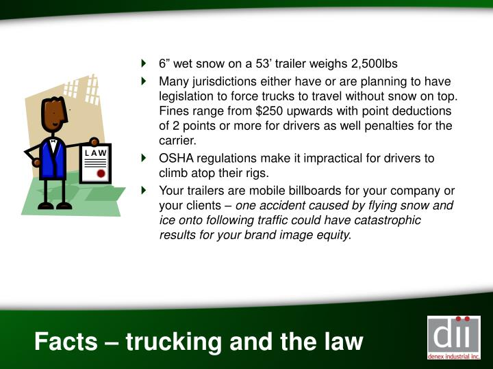 """6"""" wet snow on a 53' trailer weighs 2,500lbs"""