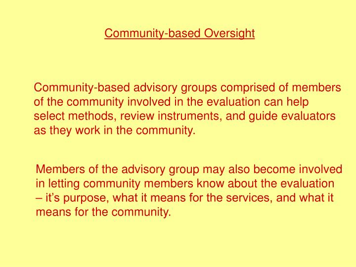 Community-based Oversight