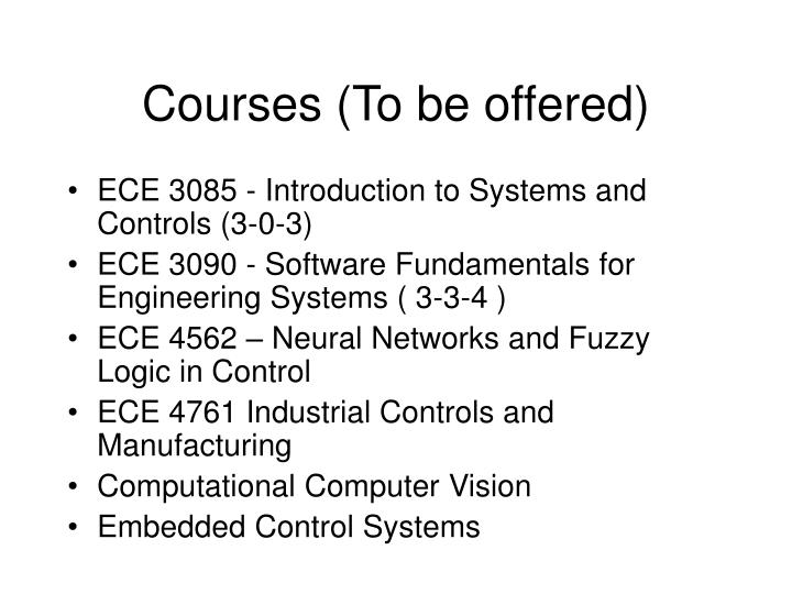 Courses (To be offered)
