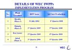 details of wec iwpps implementation program