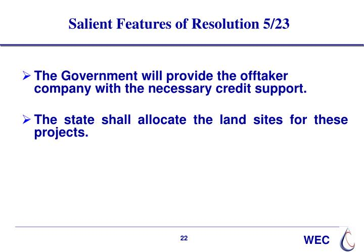 Salient Features of Resolution 5/23