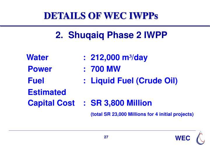 DETAILS OF WEC IWPPs