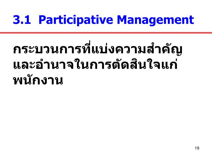 3.1  Participative Management