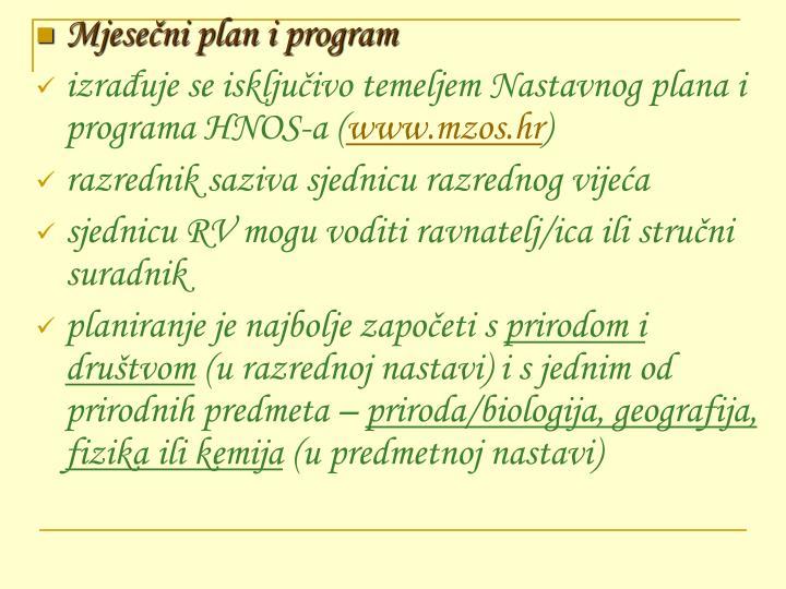 Mjesečni plan i program