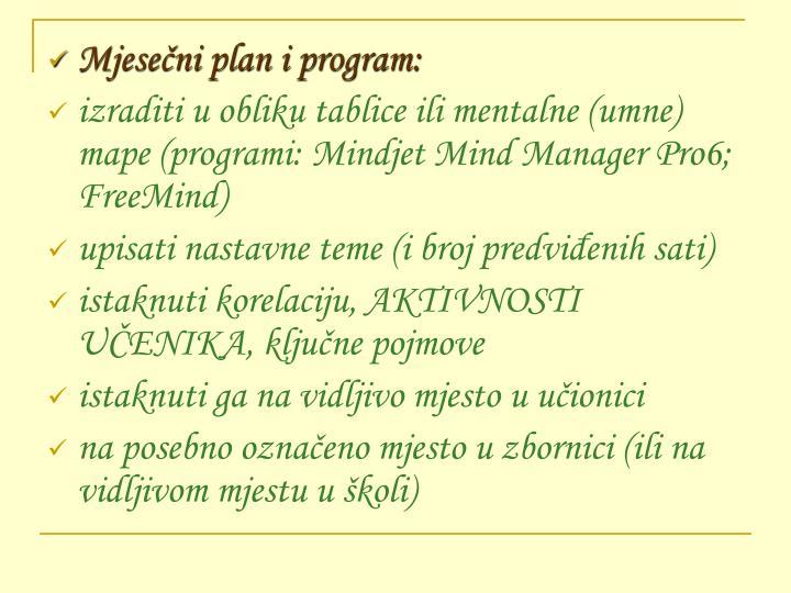Mjesečni plan i program: