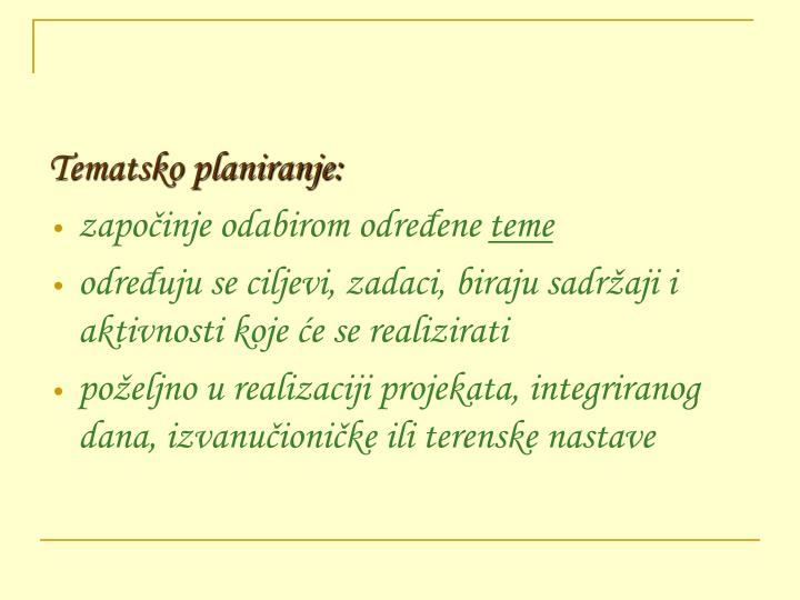 Tematsko planiranje: