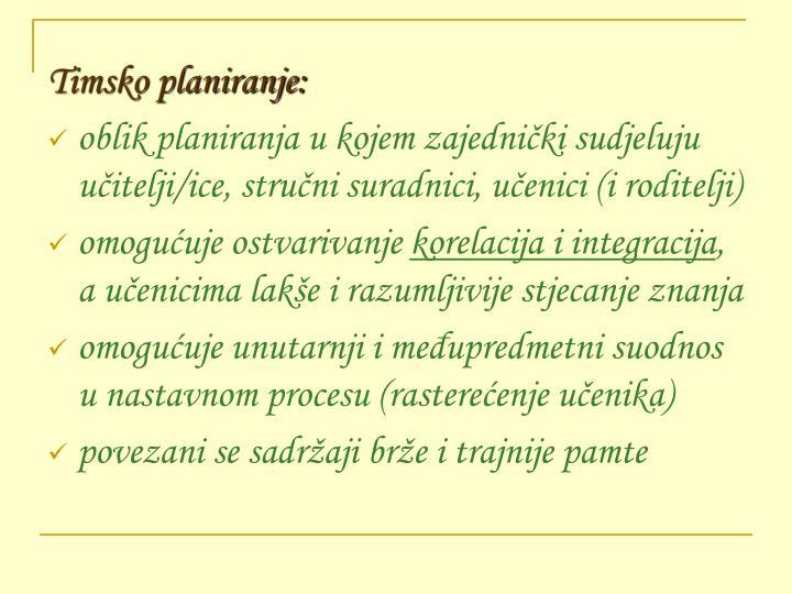 Timsko planiranje: