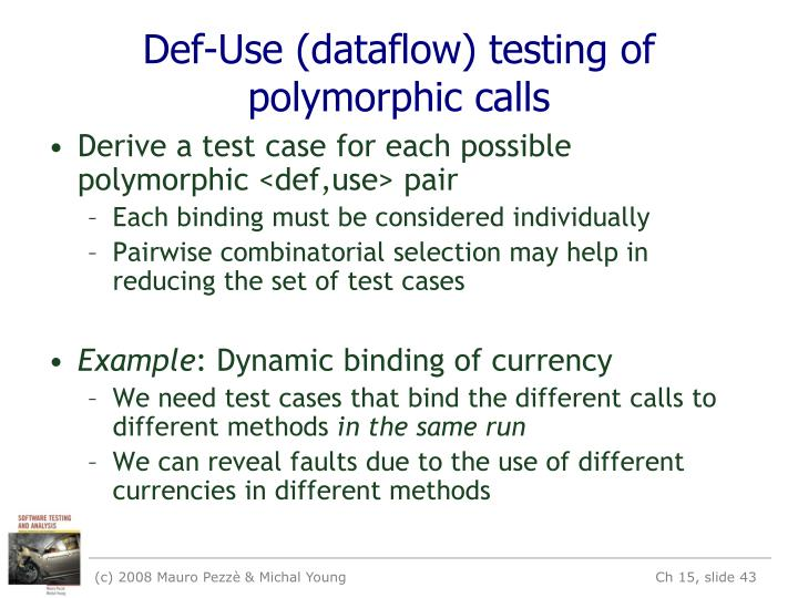 Def-Use (dataflow) testing of polymorphic calls