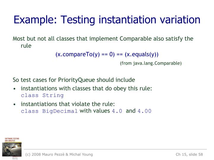 Example: Testing instantiation variation