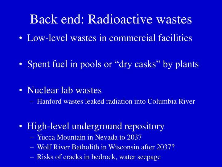 Back end: Radioactive wastes