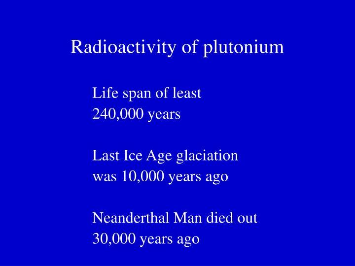Radioactivity of plutonium