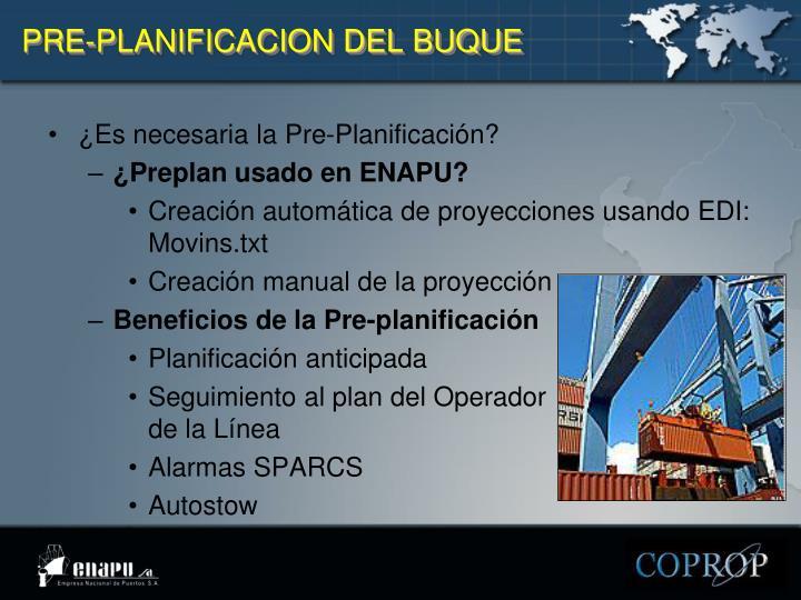 PRE-PLANIFICACION DEL BUQUE