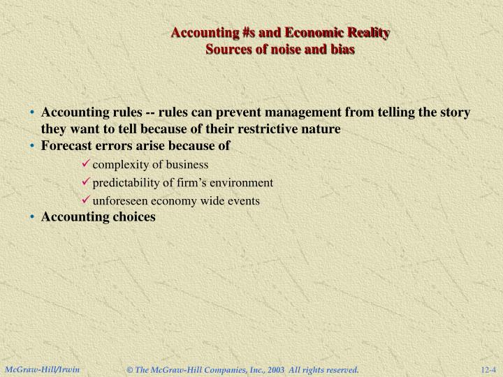 Accounting #s and Economic Reality