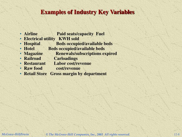 Examples of Industry Key Variables