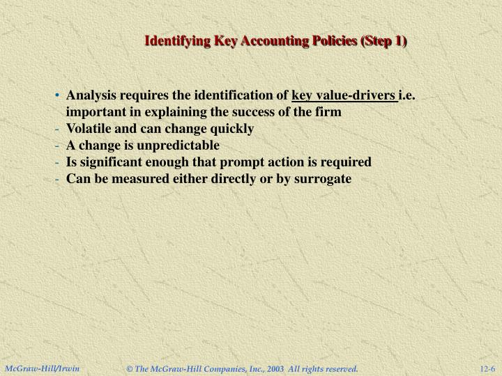Identifying Key Accounting Policies (Step 1)