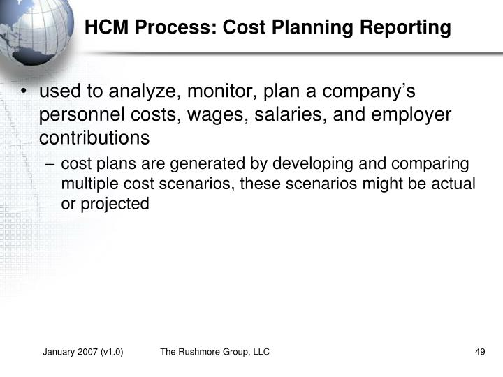 HCM Process: Cost Planning Reporting