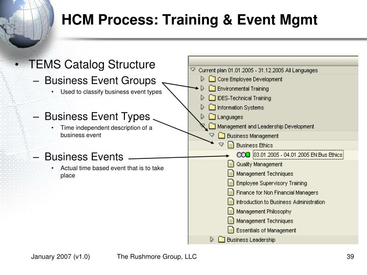 HCM Process: Training & Event Mgmt