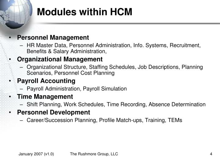 Modules within HCM