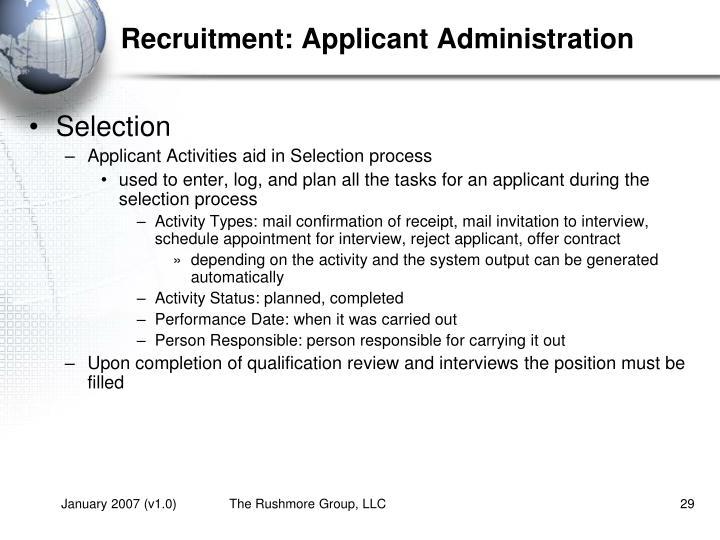 Recruitment: Applicant Administration